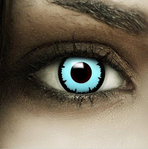 """Farbige blaue Kontaktlinsen """"Blue Angel"""" + Kunstblut Kapseln + Behälter von FXCONTACTS®, weich, ohne Stärke als 2er Pack - perfekt zu Halloween, Karneval, Fasching oder Fasnacht"""