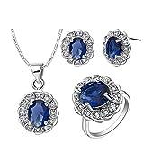 AnazoZ Collar Anillo Pendientes Mujer Conjuntos de Joyas para Niña Redondo Cristal Plata Azul Oscuro Anillo Talla 15