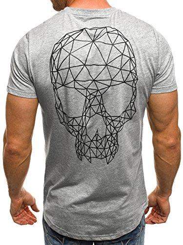 OZONEE Herren T-Shirt mit Motiv Kurzarm Rundhals Figurbetont J.STYLE SS009 Grau_J.STYLE-SS091