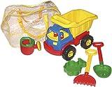 Bieco 06000025 - Sandspielzeug Set mit Kipp-LKW ca. 42 cm und Zubehör in praktischer Reißverschlusstasche, 5-teilig