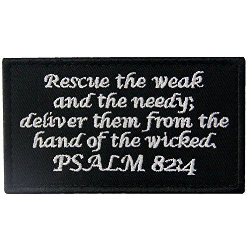 Tactical Designs Patch Combat Badge Moral-Applikation bestickt Verschluss Haken & Schleife Emblem Psalm 82:4 -
