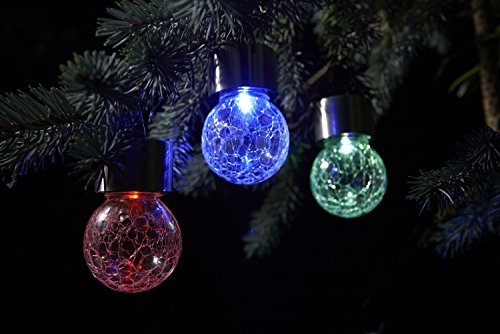 Auraglow Set of 3 Solar Hanging Mosaic Lights Outdoor Garden LED Crackle Globes - Colour Changing
