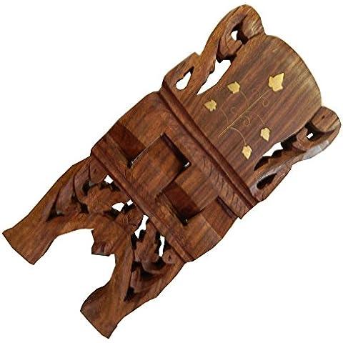 Atril soporte para libros madera talla S incrustaciones de latón enredadera mueble pequeño plegable artesanía decoración