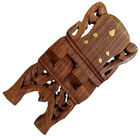 Porte-livre 25cm pliable en bois de shisham avec des incrustations en laiton Artisanat indien
