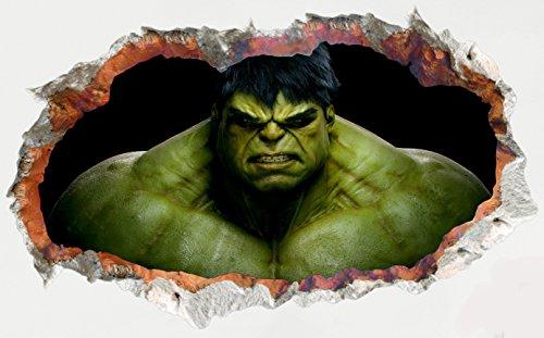 ochene Wand / Loch in der Wand / zerschmetterte Wand 3D Blick - Wanddekor für Schlafzimmer / Wohnzimmer / Kinderzimmer - Schale und Stick mach es selbst - Selbstklebendes Vinyl Abziehbild - Superheld Hulk Peeping (Superheld Halloween Schablonen)