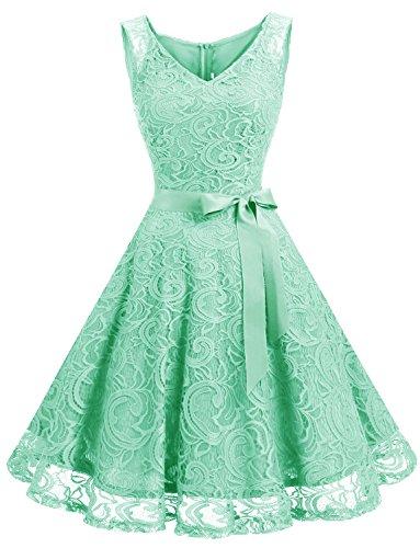 Dressystar DS0010 Brautjungfernkleid Ohne Arm Kleid Aus Spitzen Spitzenkleid Knielang Festliches Cocktailkleid Mintgrün L - Mint Grün-kleid Für Frauen
