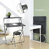 House in a box Set scrivania e Sedia Pieghevole per Teenager Student, Home Office Mobile Workstation Laptop Desk Cart Attacco Piccolo Spazio con 2Ripiani, Nero