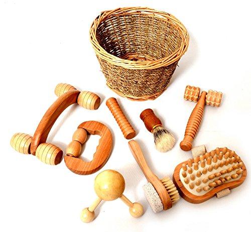 Juego de masaje sensorial de madera, rodillos y formas, terapia de cepillado sensorial, presentado en cesta de mimbre de sauce, de 8 piezas