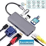 USB C Hub, ULANSeN 9 in 1 USB C Adapter Type C to 4K HDMI/VGA USB 3.0 Port Gigabit Ethernet SD Card Slot Compa