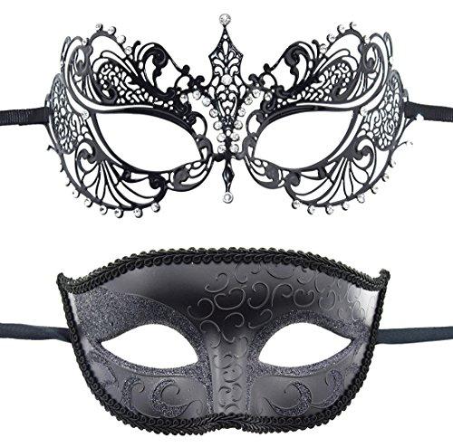KEFAN Couple Masque vénitien Mascarade Masque en métal découpé au Laser de Mardi Gras Masque (A)