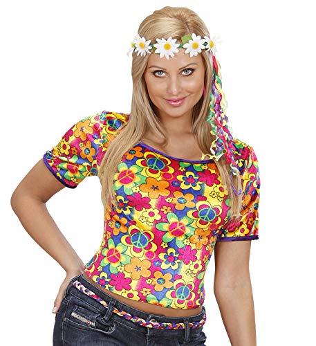 Out Peace Kostüm Hippie - Hippie Shirt Hippieoberteil mit Haarband Mageriten Sommerparty (M)