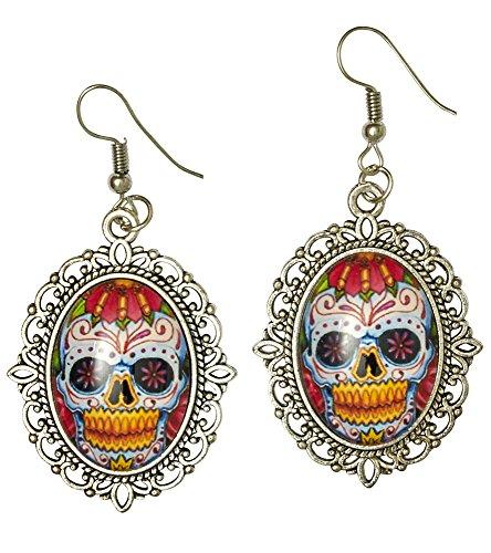 Kostüm Erwachsene Damen Für Lebende Tote - Day of the Dead Ohrringe zu Ihrem Halloween Kostüm - Schmuck für Party und Karneval