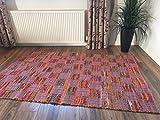 Multi Farbe & Rosa Patchwork Flachgewebe indischen Flickenteppich, mehrfarbig, 120 x 180 cm