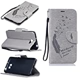 BONROY® Magnetic Flip Cover for Huawei Y5 II,Feathers and birds fashion shell design Wallet Case for Huawei Y5 II, Premium PU Leather Folio Style with Card Slots and Stand Function Case Cover for Huawei Y5 II