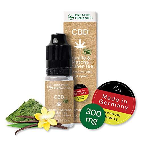 Premium active CBD Liquid von Breathe Organics® aus Deutschland | CBD Liquid 300mg mit der neuen active CBD Technologie | Menge 10 ml | nikotinfrei | Made in Germany | Vanille & Matcha Grüner Tee
