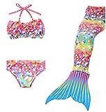 Das Beste Mädchen Meerjungfrauen Bikini Kostüm Meerjungfrau Schwimmanzug Badeanzüge Tankini, Farbe: Blau, Gr. 150