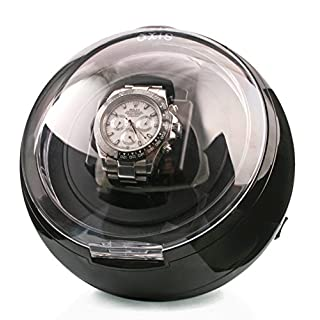 AXIS® Black Spherical Single Watch Winder with Blue LED Light Updated Version