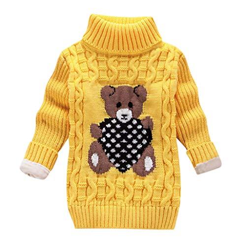 LEXUPE Baby Kinder Mädchen Winter Pullover Strickpullover Hoher Kragen Warmer Langarm Cute Pullover Kinderkleidung Sweatshirt Tops(E-Gelb,130)