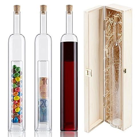 Geschenke-Flasche mit 2. Hohlraum - Holz-Geschenk-Verpackung - Hochzeitsgeschenke und Geldgeschenke zur Hochzeit -