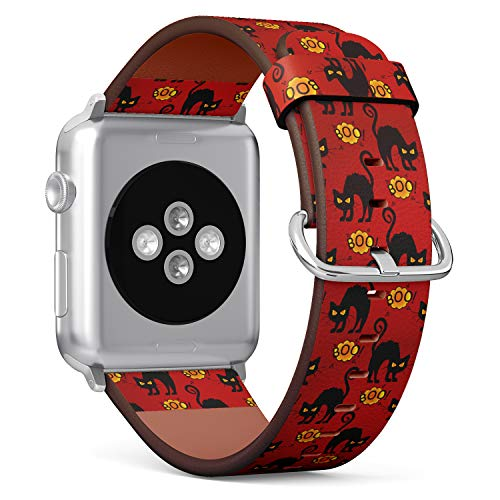 R-Rong kompatibel Watch Armband, Echtes Leder Uhrenarmband f¨¹r Apple Watch Series 4/3/2/1 Sport Edition 42/44mm - Halloween Pattern with Black Cat Boo