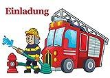 10 Einladungskarten zum Kindergeburtstag FEUERWEHR - für Kinder, Jungen, Geburtstagsfeier Jungs, Geburtstagseinladungen im Set (Ohne Kuverts)