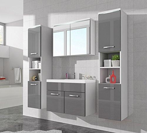 #Badezimmer Badmöbel Paso XL LED 80 cm Waschbecken Hochglanz Grau Fronten – Unterschrank 2x Hochschrank Waschbecken Möbel#