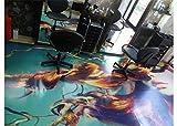 Ruvitex 3D Dekor Boden Vinyl PVC Bodenbelag Friseurshop Ladengeschäft Büro Boutique Lagerhaus Flur Teppich Aufkleber Fliesen Wand Kunst Bild lebendig 200cm x 100cm x 1.5mm individualisierbar