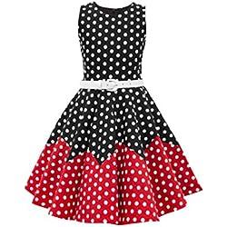 BlackButterfly Niñas 'Amy' Vestido de Lunares Vintage Años 50 (Negro - Rojo, 5-6 Años)