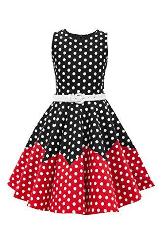 BlackButterfly Kinder 'Amy' Vintage Polka-Dots Kleid im 50er-J-Stil (Schwarz - Rot, 13-14 J / 158-164)