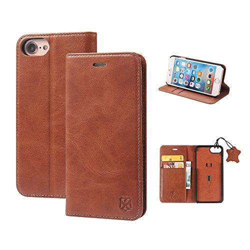 MTRONX für iPhone 8 Hülle, iPhone 7 Hülle, Echtleder Magnetisch Brieftasche Dünn Leder-Tasche, Ständer und Kartenfach, Folio Flip Case für Apple iPhone 7 iPhone 8 - Braun(RLXD-BN)