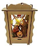 Laternenkrippe beleuchtet Krippe in Laterne Weihnachtskrippe zum Aufhängen mit Figuren Handarbeit