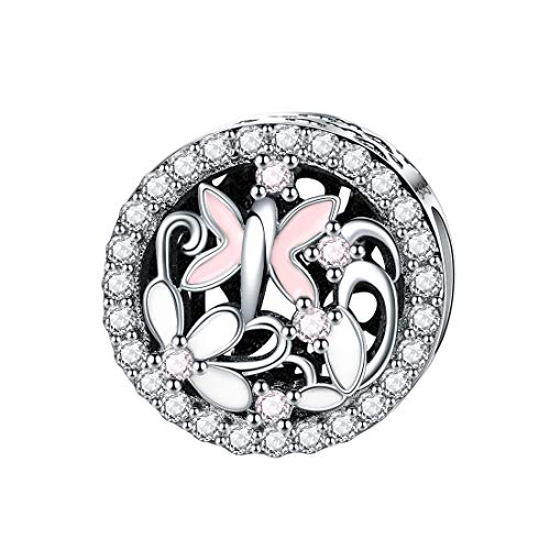 925 Silber Blume Damen-Charms Kristall Libelle Emaille Charme Perlen für Charms Armband