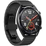 TopTen Compatible Huawei Watch GT, Stainless Steel Replacement Strap Watch Band Wristband Bracelet for Huawei Watch GT and Honor Watch Magic (Black)