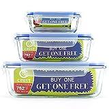 [Paquete de 3, comprar 1 Get 1 Free] Contenedor de vidrio con tapas herméticas, recipiente para preparación de comida, sin BPA, microondas, horno, congelador, apto para lavavajillas