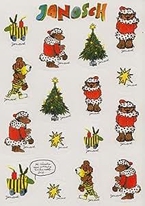 Janosch Sticker carte postale Tiger, ours et tigre Canard dans de Noël