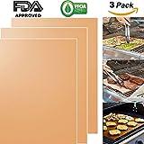 Tappeto di griglia di rame, griglia antiaderente al 100% e tegami di cottura (3pcs) -FDA approvato, PFOA libero; Lavori pesanti, riutilizzabili e facili da pulire - Lavora su gas, carbone di legna, grill elettrico e altro ancora