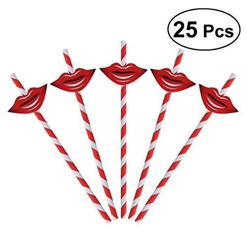 OUNONA 50 stücke Papiertrinkhalme Lustige Schnurrbart Strohhalme Wiederverwendbare Getränke Strohhalme Bar Cocktail Strohhalme für Geburtstagsfeier Decar (rot) (Strohhalme Papier Schnurrbart)
