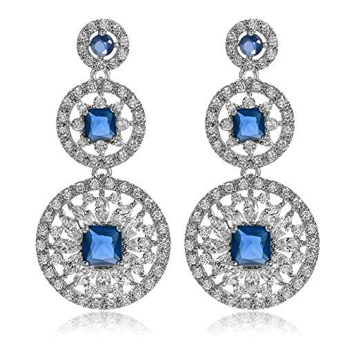 Aooaz Damen Ohrstecker Ohrhänger Silber Vergoldet Blume Silber Blau 19 x (Diy Kostüme Männer Lustige)