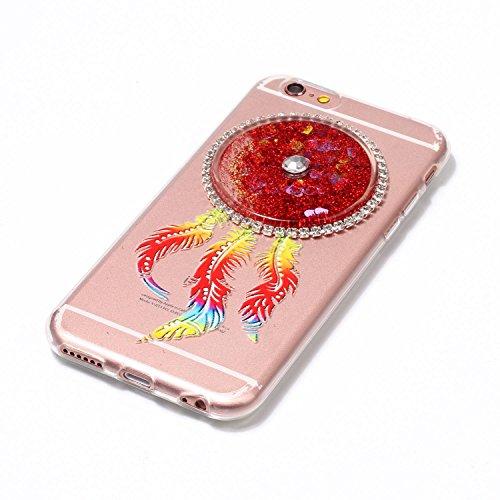 iPhone 6 (4.7 Zoll) Hülle, Kreativ Design 3D Transparent Soft Silikon Hülle Case Dynamisch Heart-shaped Treibsand Liquid Fließen Flüssig Schwimmend Tasche Handyhülle Glitter Glitzer Sparkle Hart TPU B 1