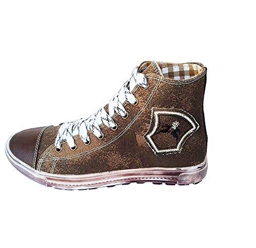 Maddox Country Trendige Jungen Sneaker Fredl Dunkelbraun aus Leinen mit Used Look Sohle, Trachten Sneakers (42)
