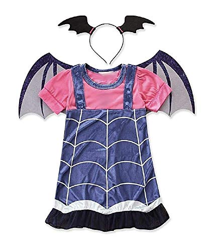 KIRALOVE (Taglia 110-4-5 anni) Costume - Costumino - Vampira - Vampirina - Bambina - Travestimento Carnevale Halloween - Cosplay - Accessori - Cerchietto