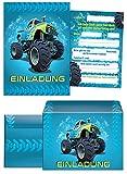 8 Einladungskarten zum Kindergeburtstag Monstertruck blau Incl. 8 Umschläge / Monster-Truck / Auto / Einladungen zum Geburtstag für Jungen (8 Karten + 8 Umschläge)