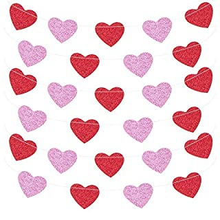 ANPHSIN 4 Pack Glitter Paper Heart Garland Banner for Valentine's Day Decoration- Pink and Red