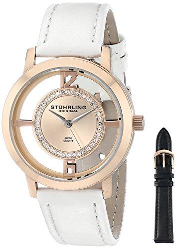Stuhrling Original Winchester-Tiara da donna in oro rosa con orologio al quarzo con Display analogico e cinturino in pelle bianco 388L2.SET.03