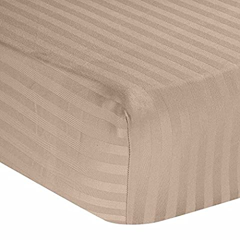 Homescapes 100% Egyptian Cotton Satin Stripe Fitted Sheet Taupe Beige Double Size 330 Thread Count Percale Anti Dust Mite