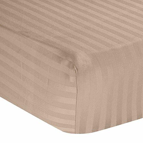 Homescapes Damast Spannbettlaken Taupe beige Spannbetttuch 180 x 200 cm 100% Reine ägyptische Baumwolle Fadendichte 330 - Taupe Damast