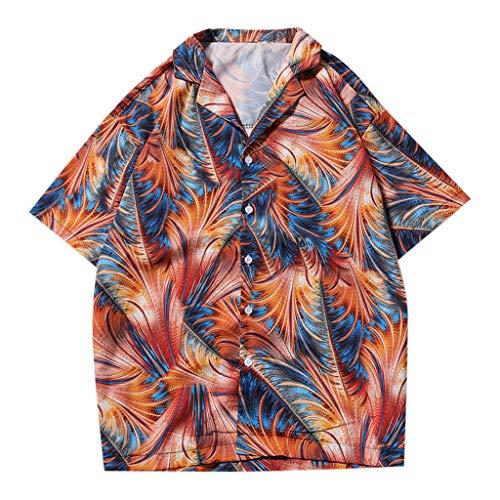 Bluse Shirts Sommerräumung Mens Art und Weisehemden beiläufige kurze Hülsen Strand Oberseiten lösen beiläufige Bluse Schwarz XXL -
