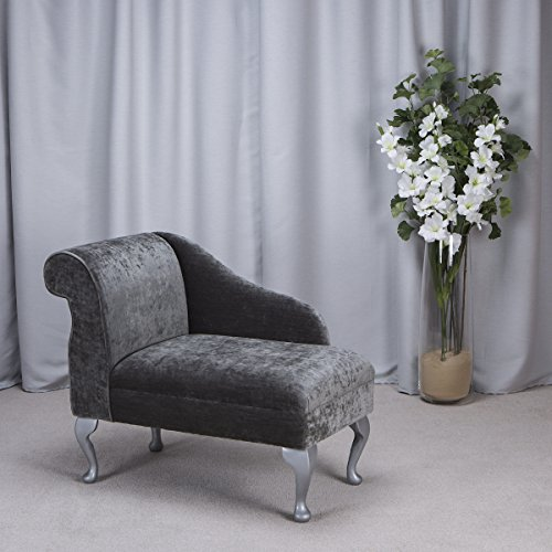 36″ Mini Classic Chaise Longue – Small Chair Seat – Pastiche Slub Spruce Grey Fabric – Left Facing With Queen Anne Legs