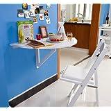 Wandklapptisch, Küchentisch, Esstisch, Kindermöbel, FWT10-W (Weiß aus Holz)