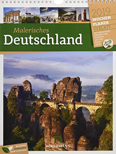 Malerisches Deutschland - Wochenplaner 2019, Wandkalender im Hochformat (25x33 cm) - Wochenkalender mit Rätseln und Sudoku auf der Rückseite